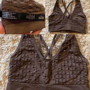 Brown strappy VS sports bra
